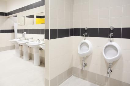 Interior of modern public restroom